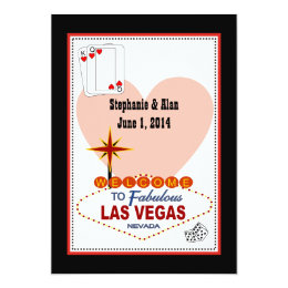 Las Vegas Pair of Hearts Wedding Invitation