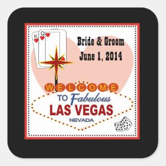 Las Vegas Pair of Hearts Wedding Stickers