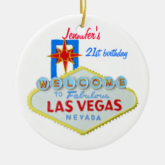 Las Vegas Personalized Occasion Pendant Double-Sided Ceramic Round Christmas Ornament