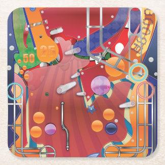 Las Vegas Pinball Machine Square Paper Coaster