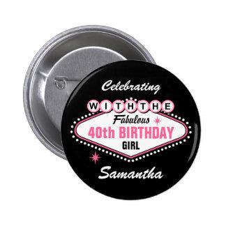 Las Vegas Pink Celebrating With Pinback Button