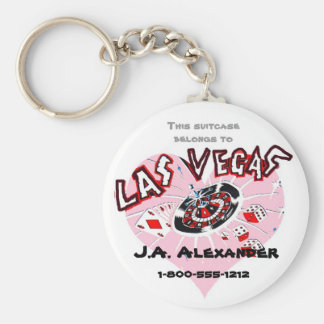 Las Vegas Pink Heart Baggage I.D. Basic Round Button Keychain