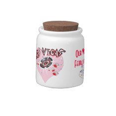 Las Vegas Pink Heart Wedding Candy Jar at Zazzle