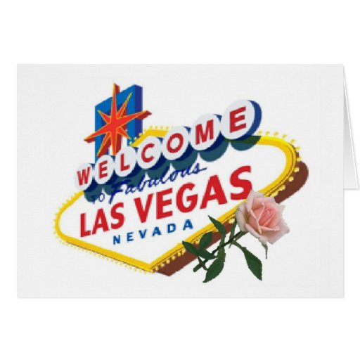 Las Vegas Pink Rose Card