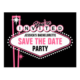 Las Vegas Pink Save The Date Postcard