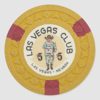 Las Vegas Poker Chip Casino Gambling Obsolete Classic Round Sticker