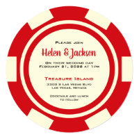 Las Vegas Poker Chip Red and White Wedding Invitation