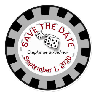 Las Vegas Poker Chip Save The Date Card