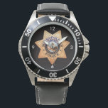 "Las Vegas Police Shield Watch<br><div class=""desc"">The watch has the Las Vegas Police Badge on the face with a black background. Las Vegas is one of the busiest cities in the United States and the LVPD is there to keep the peace. The watch can be easily customized: styles (men&#39;s, women&#39;s children&#39;s), colors, images, text, etc. For...</div>"