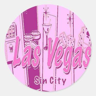 Las Vegas Pop Art Retro Classic Round Sticker