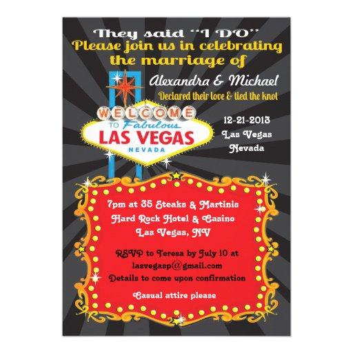 las vegas post wedding reception invitations 5quot x 7 With las vegas post wedding reception invitations