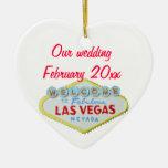 Las Vegas que casa el recuerdo Adorno Navideño De Cerámica En Forma De Corazón