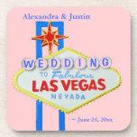 Las Vegas que casa el signo positivo personalizado Posavasos De Bebidas
