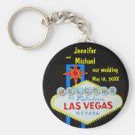 Las Vegas que casa la fecha Llavero Redondo Tipo Pin