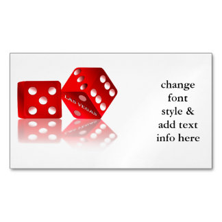 Las Vegas Red Dice Magnetic Business Card