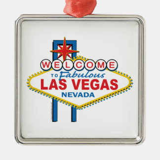 Las Vegas Retro Sign Square Metal Christmas Ornament