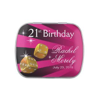 Las Vegas Rolling Dice 21st Birthday fushia Jelly Belly Tin