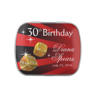 Las Vegas Rolling Dice 30th Birthday red Jelly Belly Candy Tin