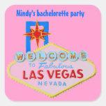 Las Vegas rosado Bachelorette Calcomanías Cuadradas Personalizadas