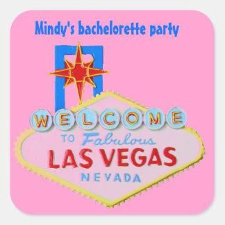 Las Vegas rosado Bachelorette Calcomanías Cuadradass