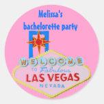 Las Vegas rosado Bachelorette Pegatina Redonda