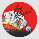 Las Vegas Roulette Cards and Dice | red Round Stickers