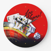 Las Vegas Roulette Wheel, Cards and Dice Wall Clocks