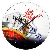 Las Vegas Roulette Wheel, Cards and Dice Clocks