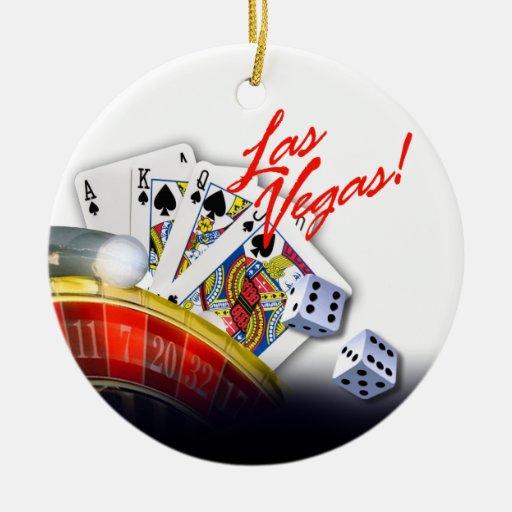 Las Vegas Roulette Wheel Double-Sided Ceramic Round Christmas Ornament