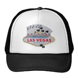 Las Vegas Royal Flush Cap with set of dice Trucker Hat