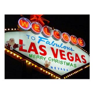 Las Vegas Santa/Reindeer Merry Christmas Postcard