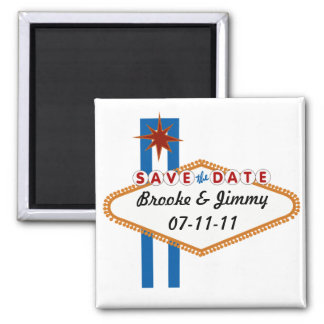 Las Vegas Save the Date 2 Inch Square Magnet