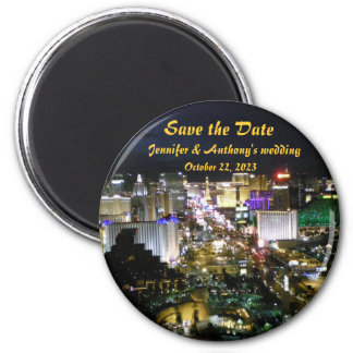 Las Vegas Save the Date Announcement 2 Inch Round Magnet