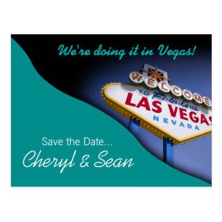 Las Vegas Save The Date (aqua) Postcard