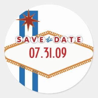 Las Vegas Save the Date Classic Round Sticker