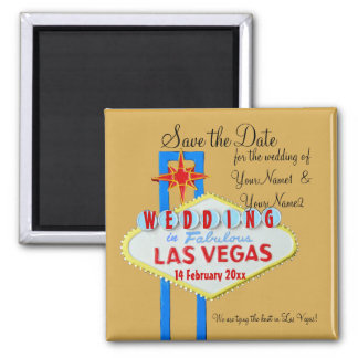 Las Vegas Save the Date custom Sign gold 2 Inch Square Magnet