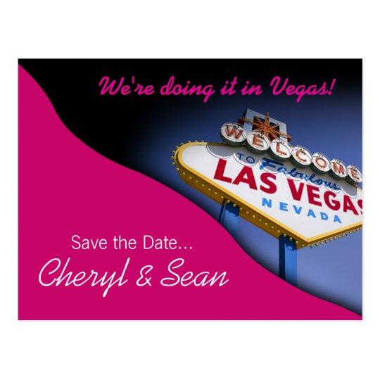 Las Vegas Save The Date (fuschia) Postcard