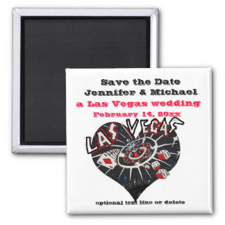Las Vegas Save the Date Heart Magnet