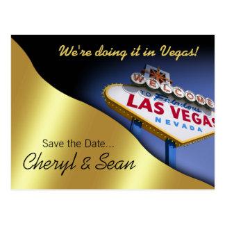 Las Vegas Save The Date (metallic gold) Postcard