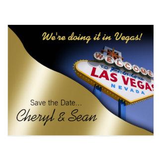Las Vegas Save The Date (metallic light gold) Post Cards