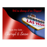 Las Vegas Save The Date (metallic red) Post Cards