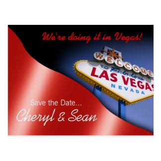Las Vegas Save The Date (metallic red) Postcard