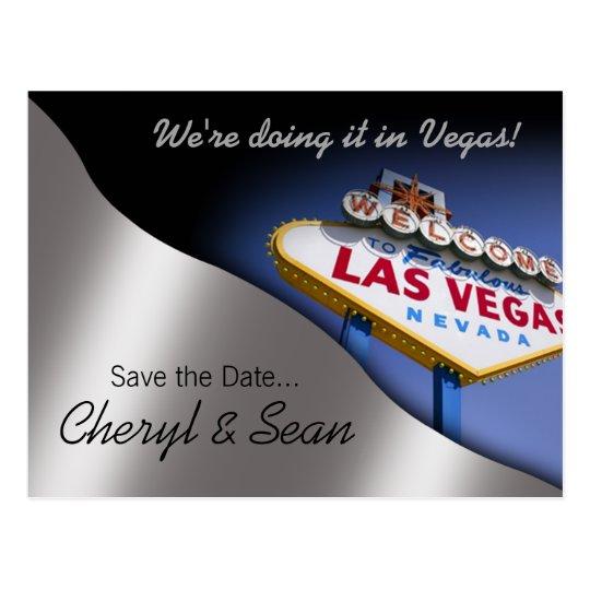Las Vegas Save The Date (metallic silver) Postcard