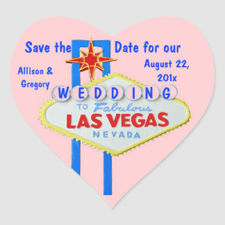 Las Vegas Save the Date Pink Heart Heart Sticker