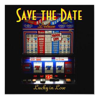 Las Vegas Save the Date Slot Machine Card