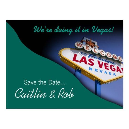 Las Vegas Save The Date (teal) Postcard
