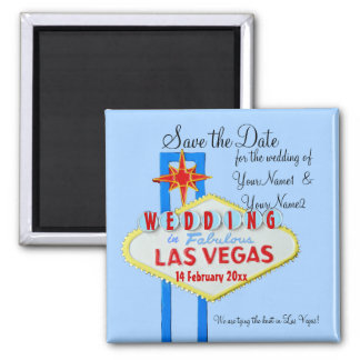 Las Vegas Save the Date Wedding blue 2 Inch Square Magnet