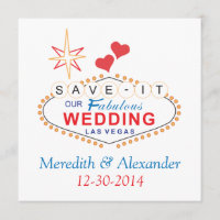 Las Vegas Save the Date Wedding Cards