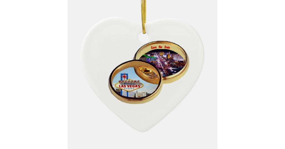 Las Vegas Save The Date Wedding Rings Ornament
