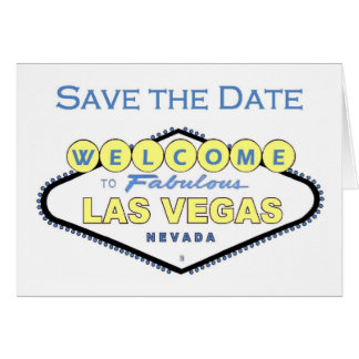 Las Vegas Save the Date Yellow and Blue Announceme Card